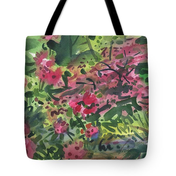 Tote Bag featuring the painting Rhododendrons And Azaleas by Donald Maier