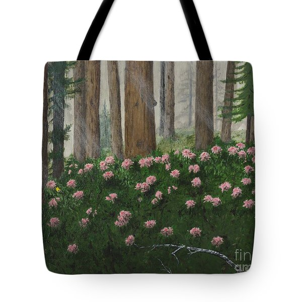 Rhododendrons And Redwoods Tote Bag
