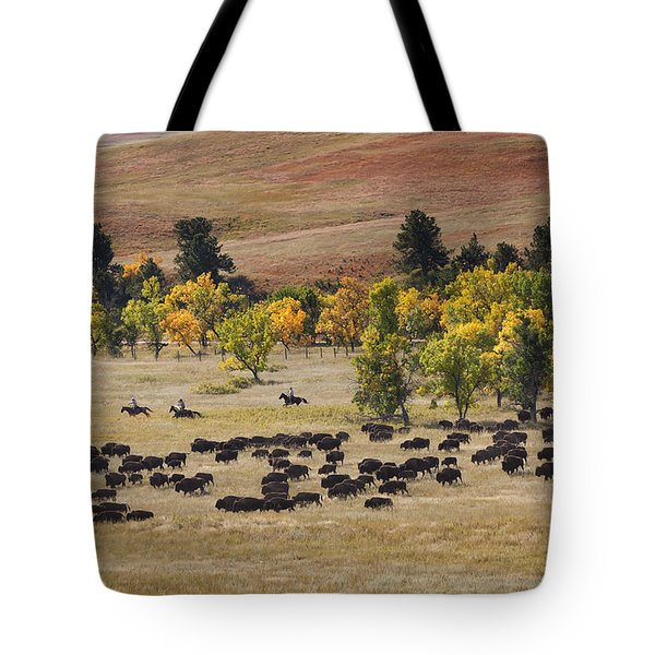 Riders Turning The Herd Tote Bag