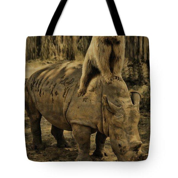 Riding Along- Rhino And Bear Tote Bag