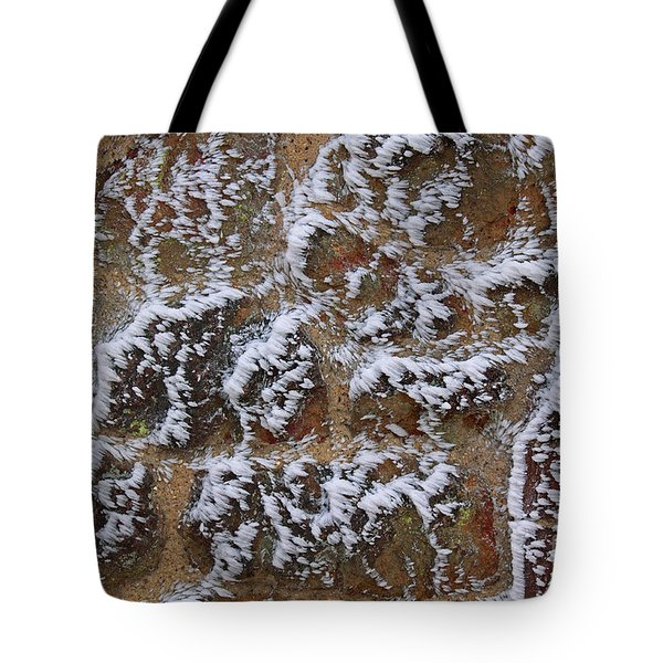 Rime-covered Brick And Stone Wall Tote Bag by Mark Taylor