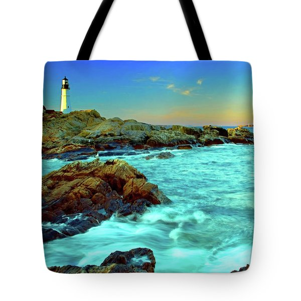 Rising Tide At Portland Head Tote Bag
