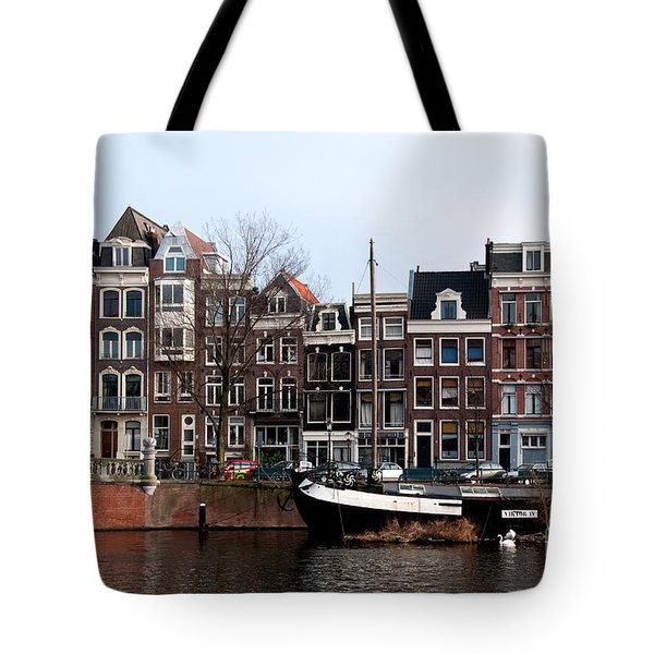 Tote Bag featuring the digital art River Scenes From Amsterdam by Carol Ailles