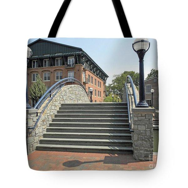 River Walk Bridge In Frederick Maryland Tote Bag by J Jaiam