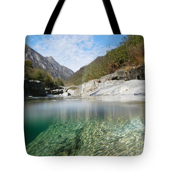 River With A Roman Bridge Tote Bag by Mats Silvan