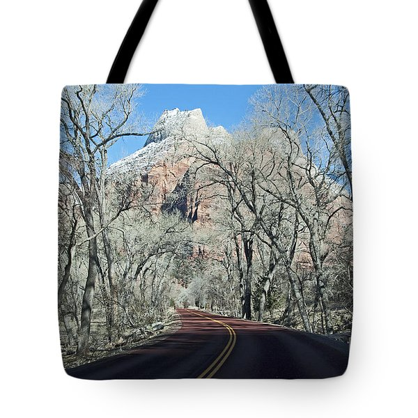Tote Bag featuring the photograph Road Through Zion Canyon by Bob and Nancy Kendrick