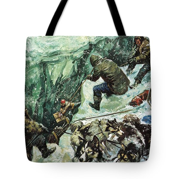 Roald Amundsen's Journey To The South Pole Tote Bag by Luis Arcas Brauner