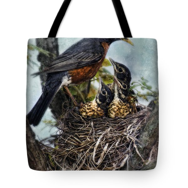 Robin And Babies In Nest Tote Bag by Jill Battaglia