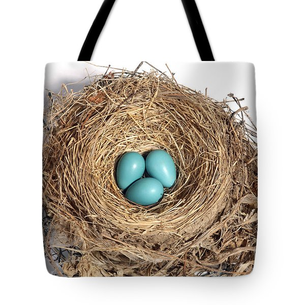 Robins Nest With Eggs Tote Bag by Ted Kinsman