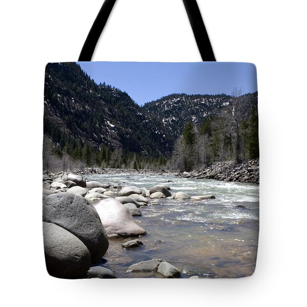 Tote Bag featuring the photograph Rock In The River by Lorraine Devon Wilke