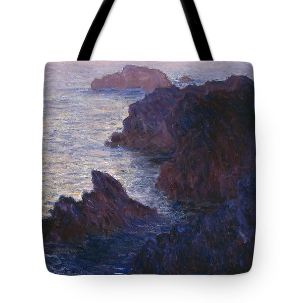 Rocks At Bell Ile Port Domois Tote Bag by Claude Monet