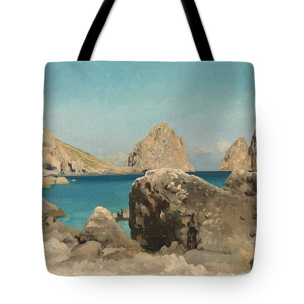Rocks Of The Sirens Tote Bag by Frederic Leighton