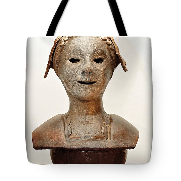 Roman Mask Torso Lady With Head Cover Face Eyes Large Nose Mouth Shoulders Tote Bag by Rachel Hershkovitz
