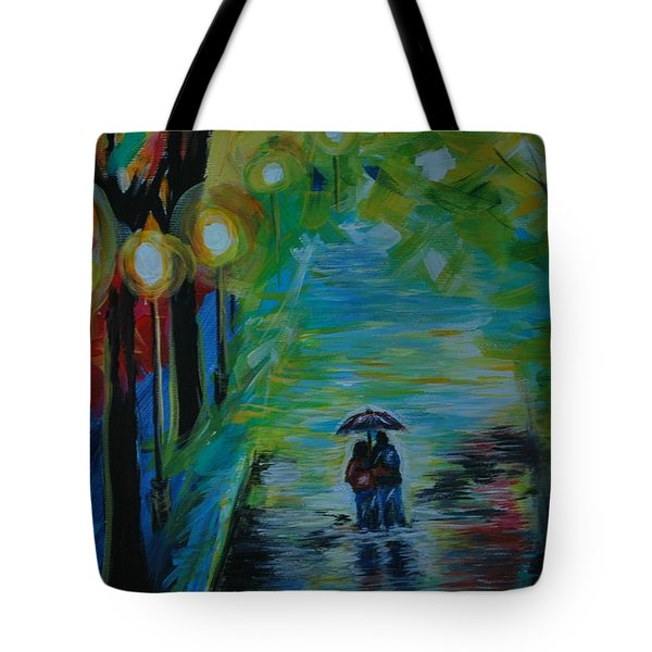 Tote Bag featuring the painting Romantic Stroll Series 1 by Leslie Allen