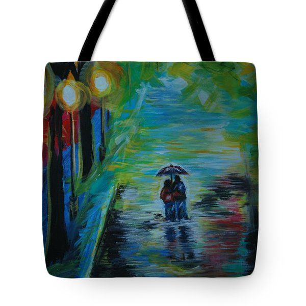 Tote Bag featuring the painting Romantic Stroll Series II by Leslie Allen