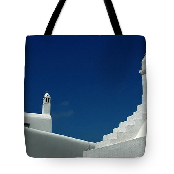 Tote Bag featuring the photograph Rooftops Of Mykonos by Vivian Christopher