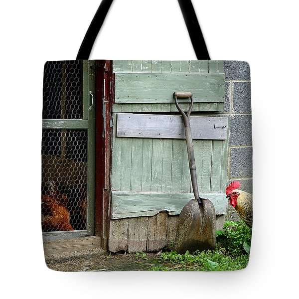 Rooster And Hens Tote Bag by Lisa Phillips