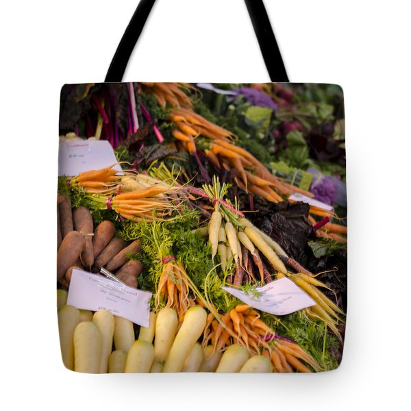 Root Vegetables At The Market Tote Bag by Heather Applegate