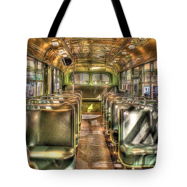 Rosa Parks Bus Inside Dearborn Mi Tote Bag by Nicholas  Grunas