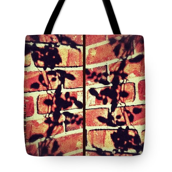 Rose Leaves - Shadow On Brick Tote Bag