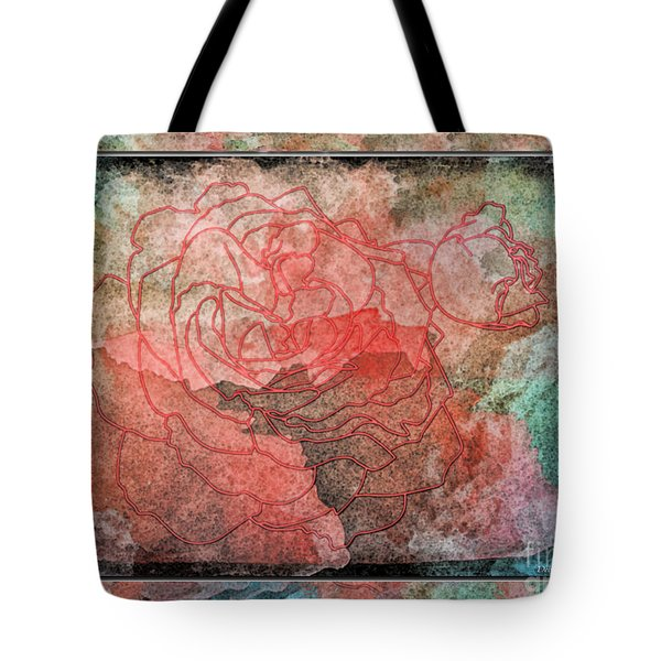 Rose Outline Abstract Tote Bag by Debbie Portwood