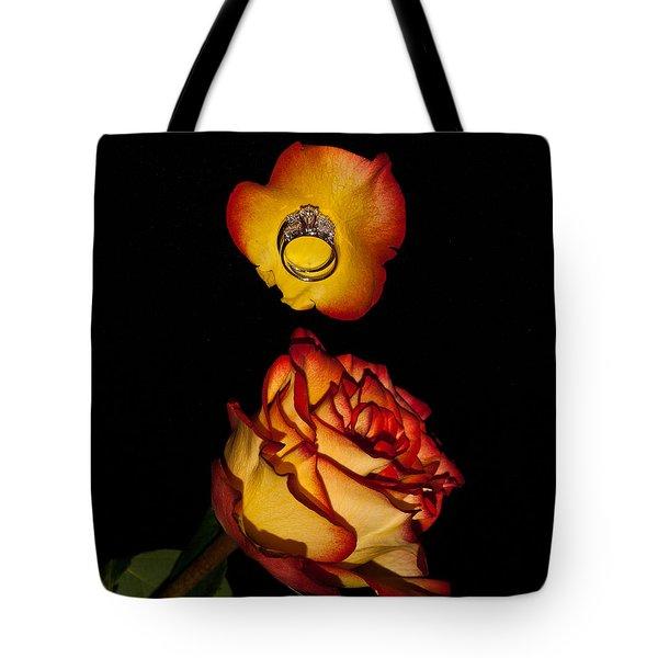 Rose Petals And Wedding Rings 1 Tote Bag by Douglas Barnett