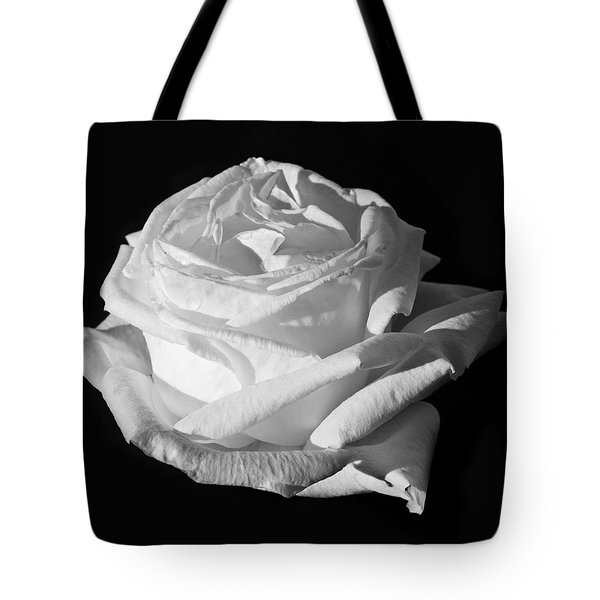 Tote Bag featuring the photograph Rose Silver Anniversary Monochrome by Steve Purnell