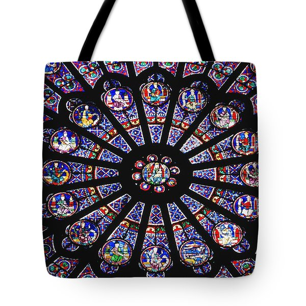 Rose Window In The Notre Dame Cathedral Tote Bag by Axiom Photographic