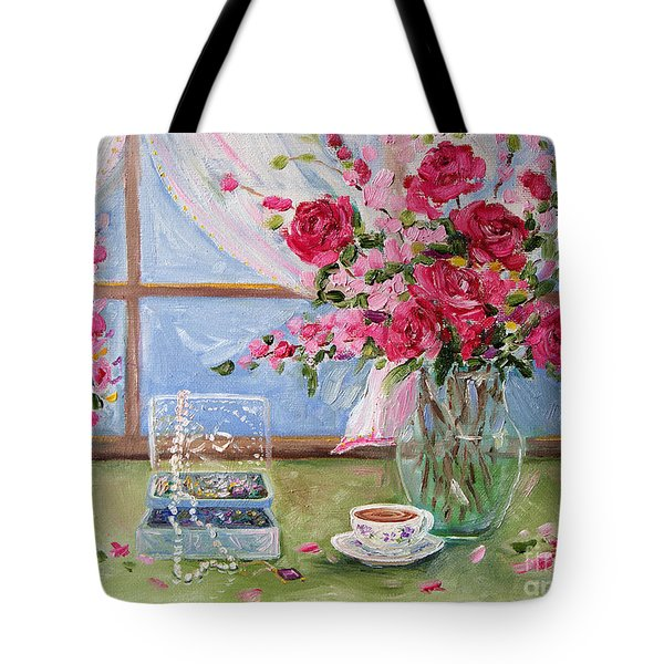 Roses And Pearls Tote Bag by Jennifer Beaudet
