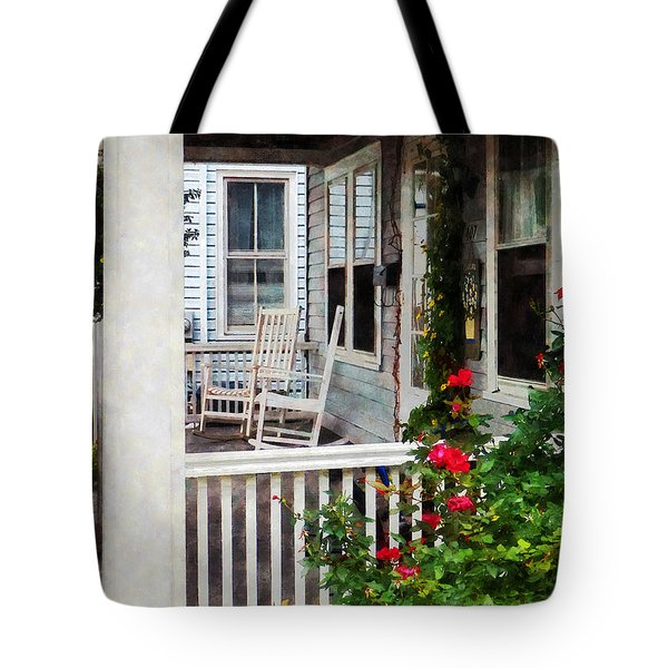 Roses And Rocking Chairs Tote Bag by Susan Savad