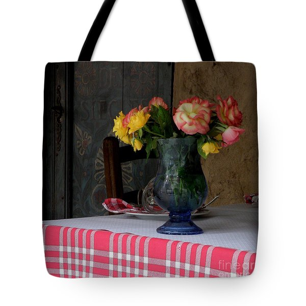 Tote Bag featuring the photograph Roses In Blue Glass Vase by Lainie Wrightson