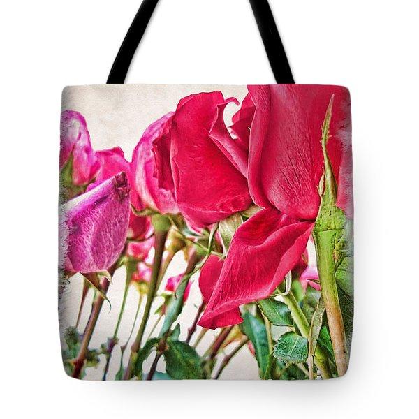 Roses In White Tote Bag by Joan  Minchak