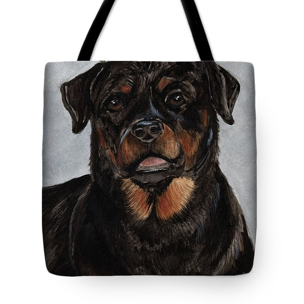Tote Bag featuring the painting Rottweiler  by Nancy Patterson