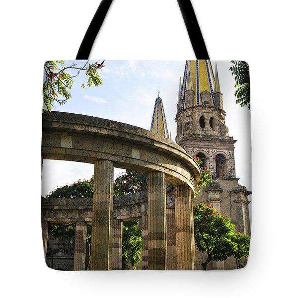 Rotunda Of Illustrious Jalisciences And Guadalajara Cathedral Tote Bag by Elena Elisseeva