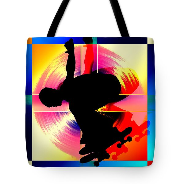 Round Peg In Square Hole Skateboarder Tote Bag by Elaine Plesser