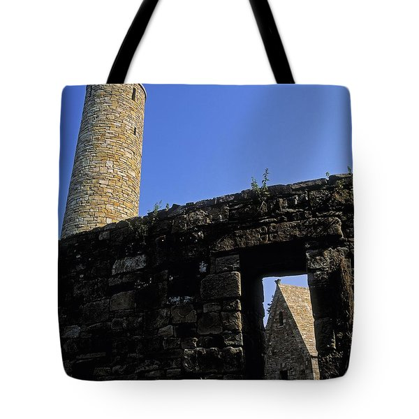 Round Tower And Chapel, Ulster History Tote Bag by The Irish Image Collection