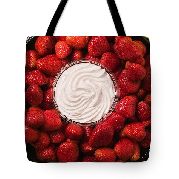 Round Tray Of Strawberries  Tote Bag by Garry Gay