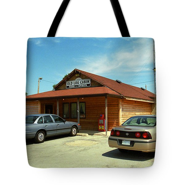 Route 66 - Old Log Cabin Tote Bag by Frank Romeo