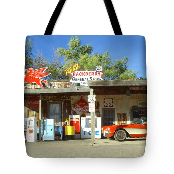 Route 66 Hackberry Arizona Tote Bag by Bob Christopher