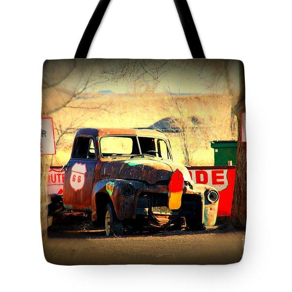Route 66 Parking Lot Tote Bag by Susanne Van Hulst