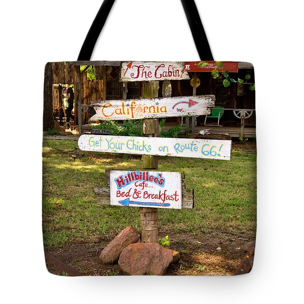 Route 66 Signs Tote Bag by Betty LaRue