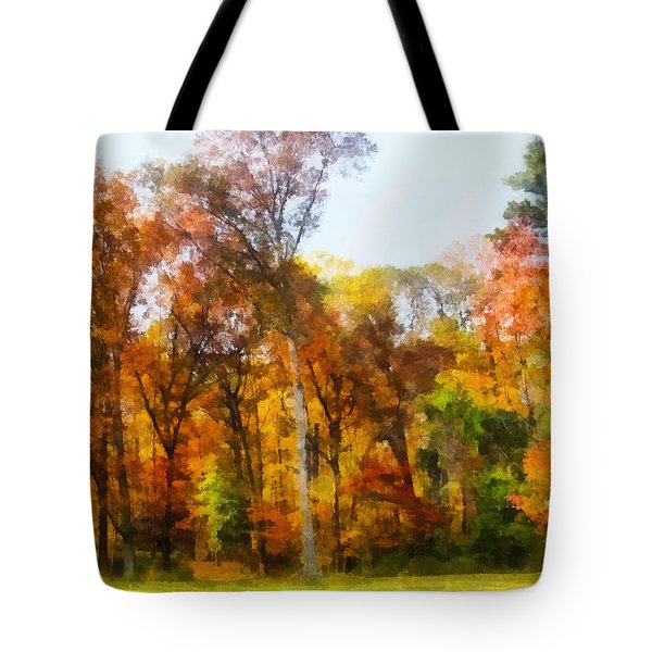 Row Of Autumn Trees Tote Bag by Susan Savad