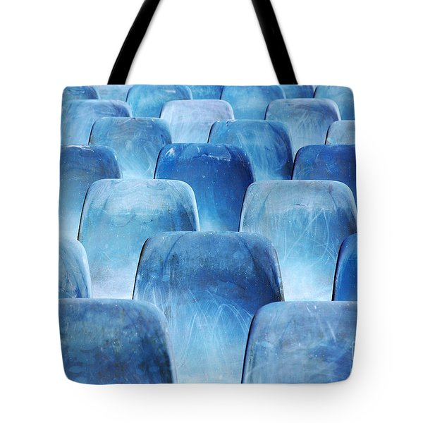 Rows Of Blue Chairs Tote Bag by Carlos Caetano