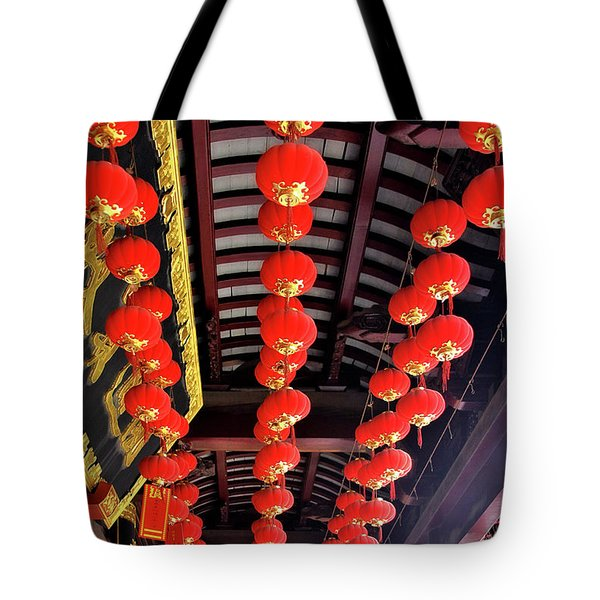 Rows Of Red Chinese Paper Lanterns - Shanghai China Tote Bag by Christine Till