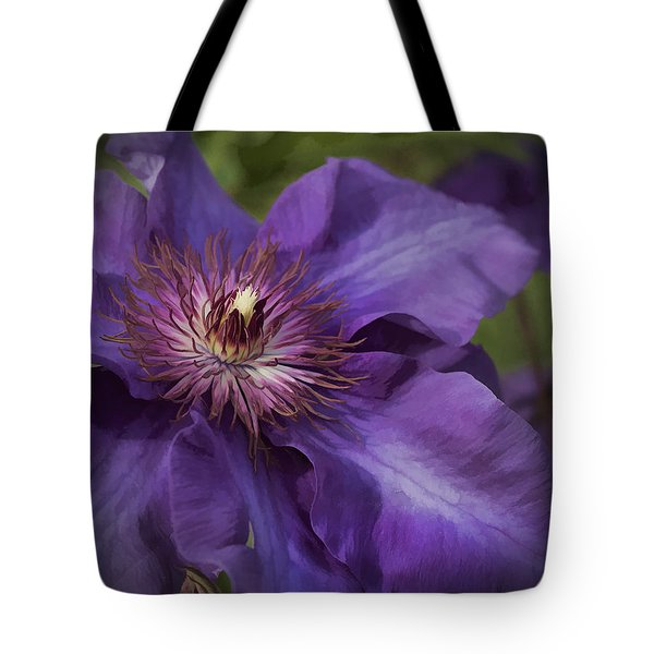 Royal Purple Jackmanii Clematis Blossom Tote Bag by Kathy Clark