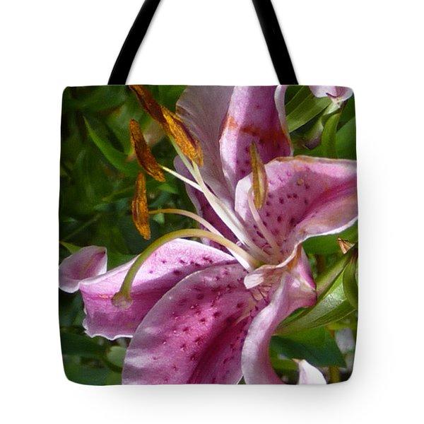 Rubrum Lily Tote Bag by Carla Parris