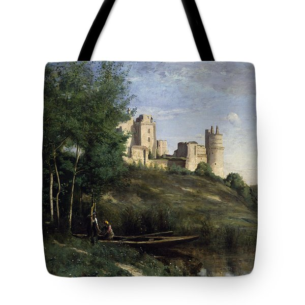 Ruins Of The Chateau De Pierrefonds Tote Bag by Jean Baptiste Camille Corot