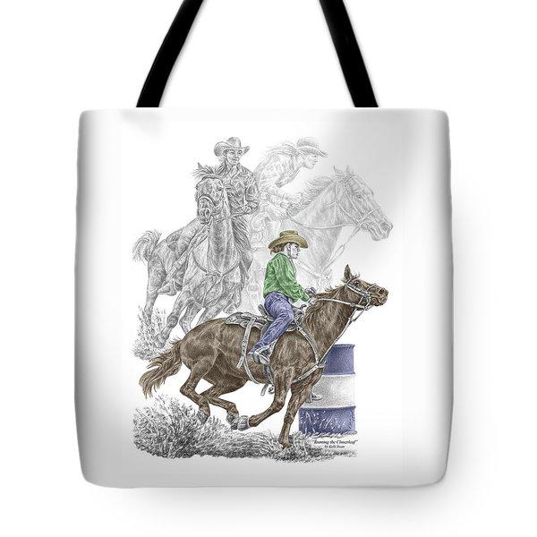Running The Cloverleaf - Barrel Racing Print Color Tinted Tote Bag by Kelli Swan
