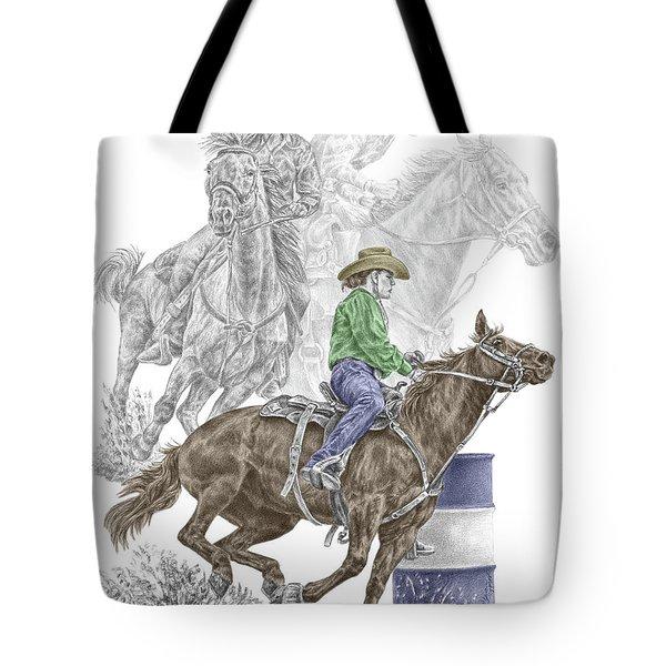 Running The Cloverleaf - Barrel Racing Print Color Tinted Tote Bag