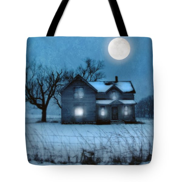 Rural Farmhouse Under Full Moon Tote Bag by Jill Battaglia